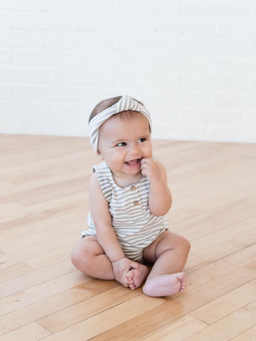 Gray Striped Baby Turban - Quincy Mae 017CS Spring 2019