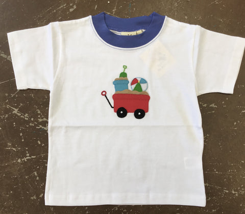 Wagon with Beach Toys Applique Tshirt - Baby Luigi Spring 2019 292