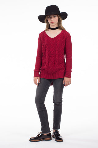 Indigo Sweater in Burgundy GSW003 - PPLA