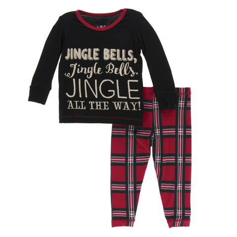 Jingle Bells Plaid Long Sleeve Pajama Set - Kickee Pants Holiday 2019