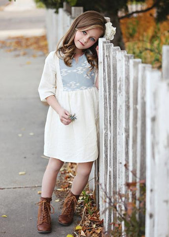 Wheel in the Sky Cream Dress - Mabel & Honey K132