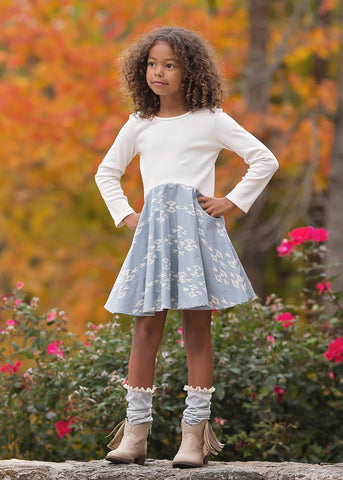 Wheel in the Sky Colorblock Twirl Dress - Mabel & Honey K133