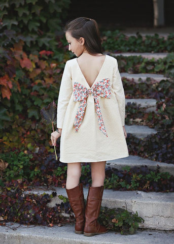 Little Wanderer Cream Bow Dress - Mabel & Honey K154