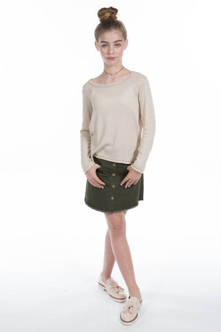 Kacy L/S Top in Oatmeal GPL046 - PPLA