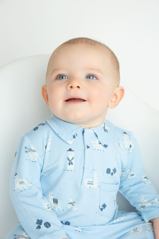 Llama in Blue Polo Romper - Angel Dear Fall 2019 5326
