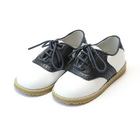 Two Tone Leather Saddle Oxford Shoe in White/Navy - Angel Baby Shoe 042