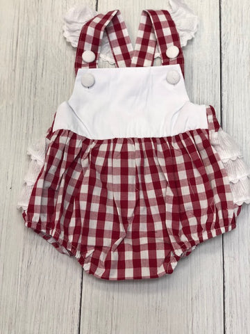 Alabama Gameday Two-Toned Gingham Flutter Sleeve Bib Bubble - DBA Monogram Fall 2018