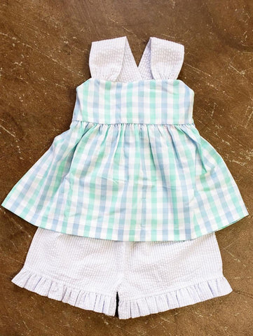 Girls Mint & Blue Short Set Banana Split 424
