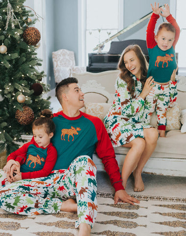 Patterned Moose Kids Pajama Set - Lazy One