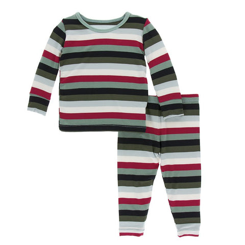 Christmas Multi Stripe Long Sleeve Pajama Set - Kickee Pants Holiday 2019