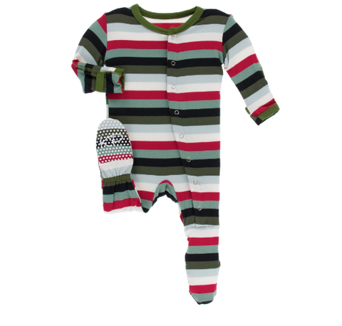 Christmas Multi Stripe Footie w/ Snaps - Kickee Pants Holiday 2019
