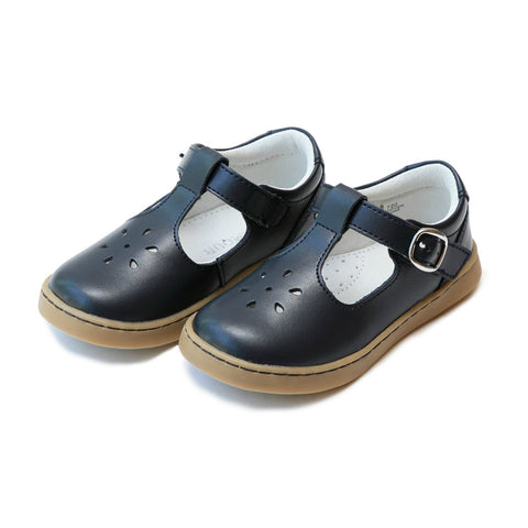 Chelsea T-Strap Leather Mary Jane in Navy - Lamour Angel Baby Shoe 720