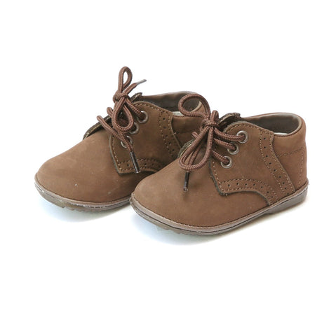 Infant Boys Leather Dress Lace Up Shoe James - Nubuck Brown by: Angel Baby Shoe 2157