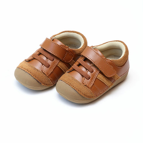 Boys Olsen Velcro Sporty Sneaker in Brown - L'Amour F300