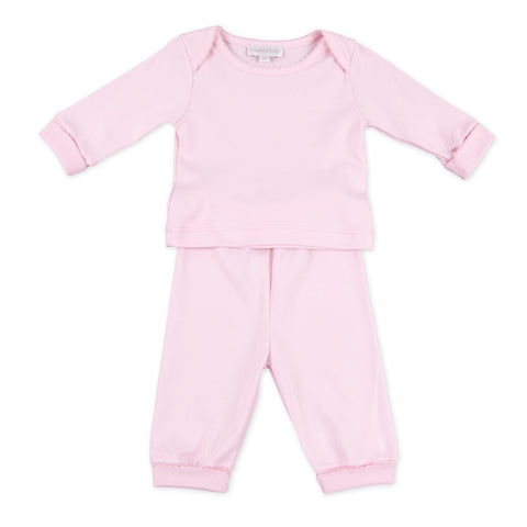 2 Piece Loungewear - Magnolia Baby Essentials Pink w/ Pink Trim