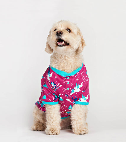 Retro Ski Dogs Pink Dog Pajama - Little Blue House By: Hatley