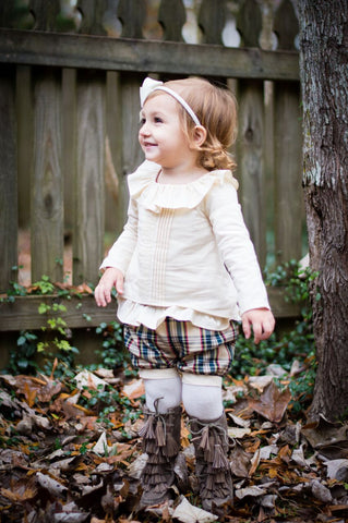 Cream Ruffle Top w/ Plaid Shorts 137 - Evie's Closet Fall 2018