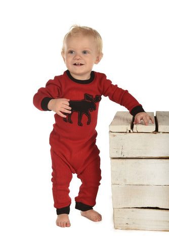 Red Classic Moose Unionsuit - Lazy One