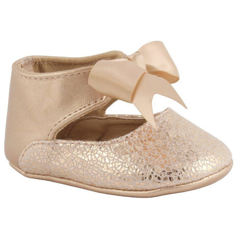 Rose Gold Metallic Foil Ankle Strap Baby Shoes - 4795  Trimfoot Baby Deer