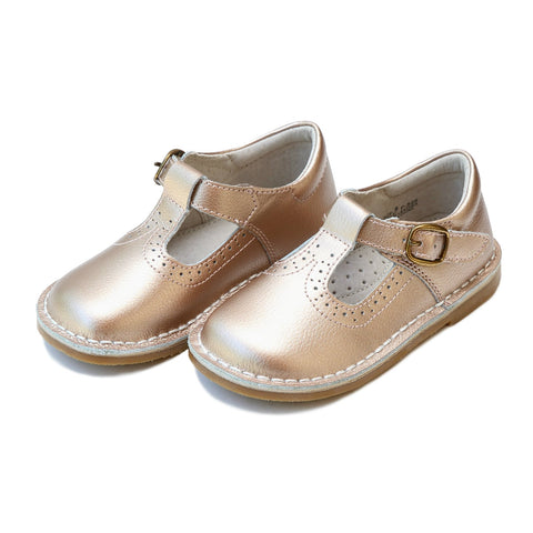 Frances T-Strap Perforated Mary Jane in Rose Gold - Lamour Angel Baby Shoe F526