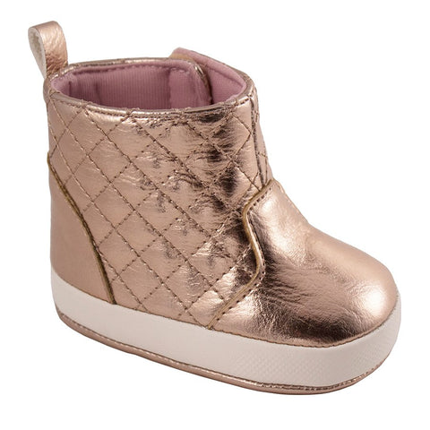 Rose Gold Quilted Hi-Top Baby Boots Infant- Trimfoot Baby Deer
