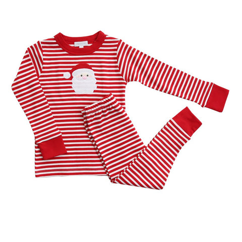 Santa Applique Long Sleeve Pajamas w/ Red - Magnolia Baby Fall 2019