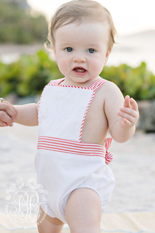 Sayre Sunsuit Worth Avenue White w/ Tega Cay Tangerine Stripe - Beaufort Bonnet Spring 2019