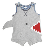 Shark Bite Shortall Romper - Mud Pie