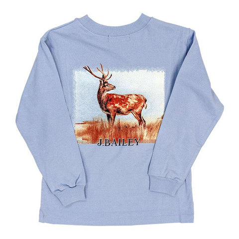Logo Long Sleeve T Shirt  J Bailey Fall 2019 Stag on Light Blue