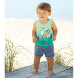 Surfs Up Pelican All-In-One Shortall Romper - Mud Pie