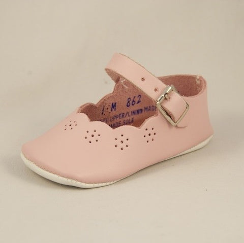 Pink Crib Shoes Sweet Peas - Kepner Scott 862