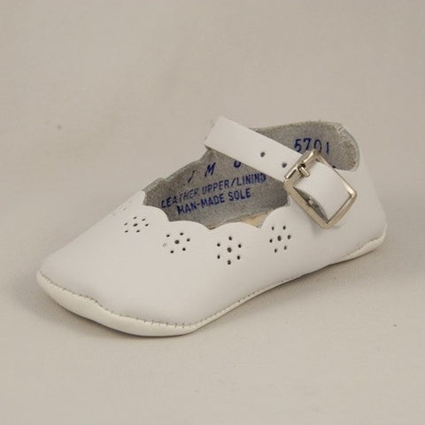 White Crib Shoes Sweet Peas - Kepner Scott 861