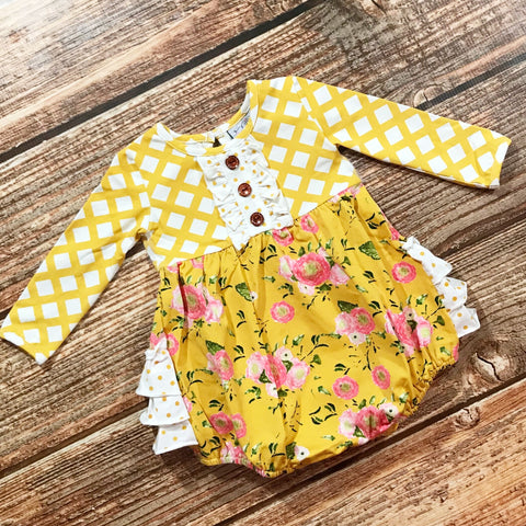 Lola Floral Ruffle Bubble SBF24 - Swoon Baby Clothing Fall 2019