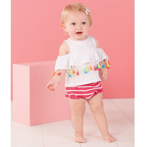 Tassel Pinafore Bloomer Set - Mud Pie Spring 2018