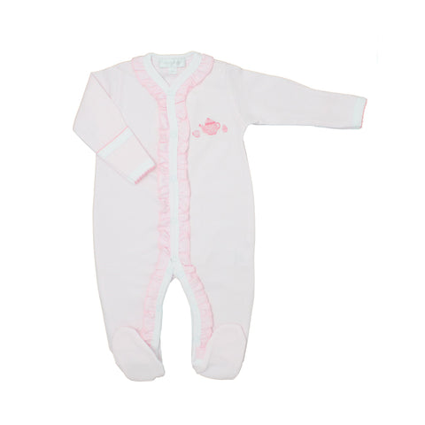 Tiny Cup of Tea Embroidered Ruffle Footie - Magnolia Baby Spring 2020 5548