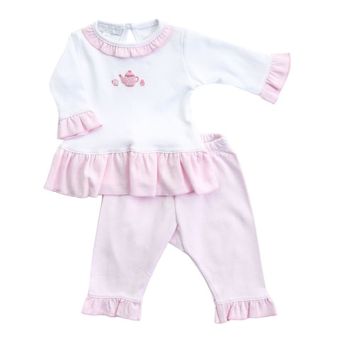 Tiny Cup of Tea Embroidered Ruffle 2pc Pant Set - Magnolia Baby Spring 2020 5549