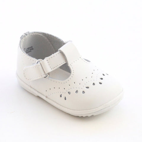 T-Strap Mary Jane - White  by: Angel Baby Shoe 2945