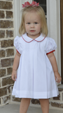 White Pleat Dress w/ Red Trim - Magnolia Steel Fall 2019 5302