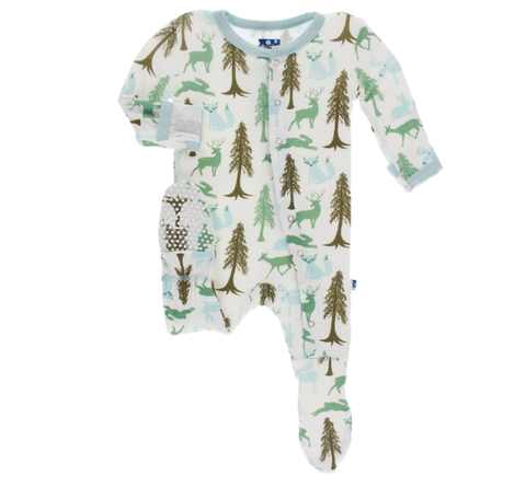 Natural Woodland Holiday Footie w/ Snaps - Kickee Pants Holiday 2019
