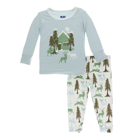 Woodland Cabin Long Sleeve Pajama Set - Kickee Pants Holiday 2019