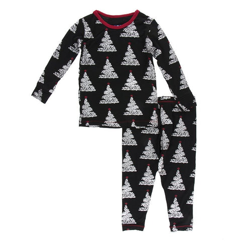 Midnight Foil Tree Long Sleeve Pajama Set - Kickee Pants Holiday 2019