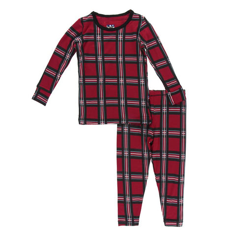 Christmas Plaid 2019 Long Sleeve Pajama Set - Kickee Pants Holiday 2019