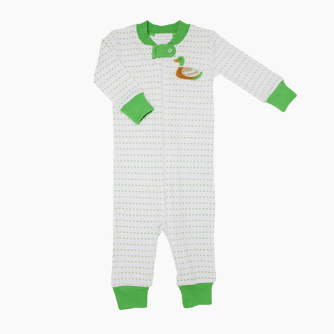 Duck Pond Applique Green Zipped Pajamas - Magnolia Baby Fall 2019