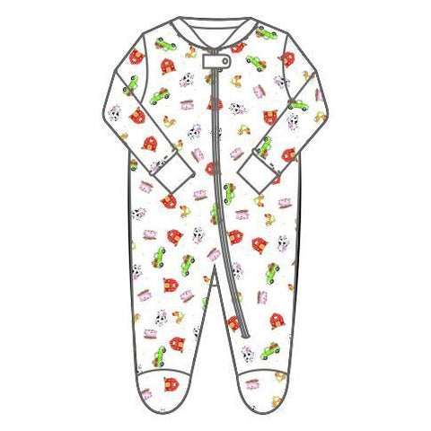 Fall Farm Printed Zipped Footie in Celery - Magnolia Baby Fall 2019