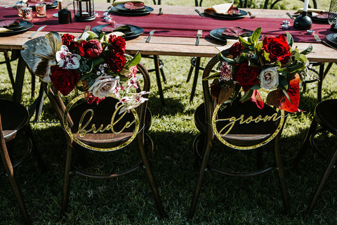 Bride & Groom chair signs (gold mirror acrylic)