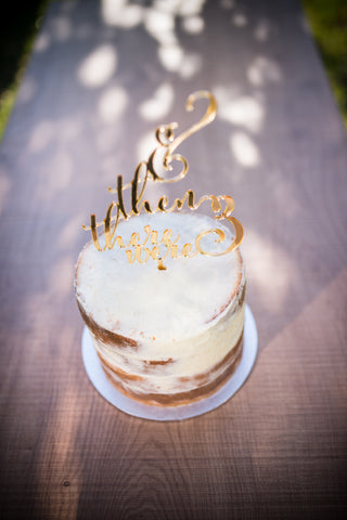 '& Then There Were Three' Cake Topper | Gold | 1 available