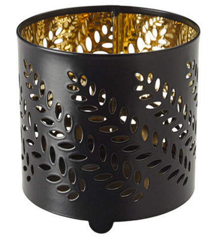 Black & Gold decorative cut tea light holder
