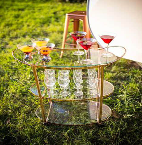 Bar Cart | Copper & Glass | 1 available