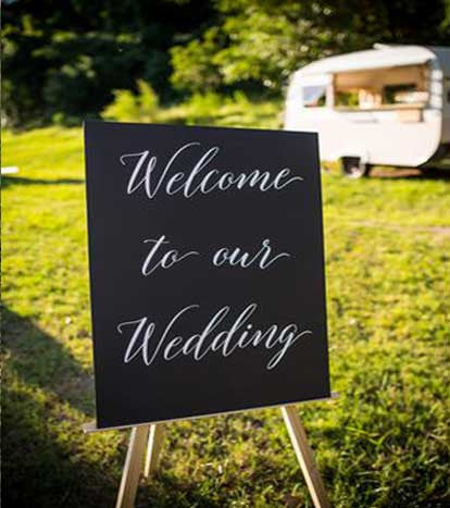 Black & White 'Welcome to our wedding' sign | Large | 1 available