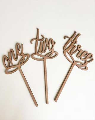 Timber Script 'Number' Cake Toppers | 1- 14 available